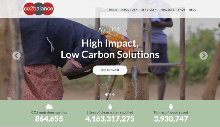 Screenshot of the CO2balance website design