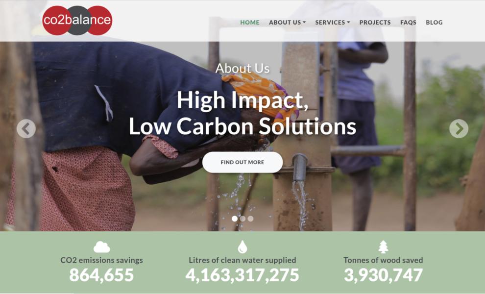 Screenshot of the CO2balance website