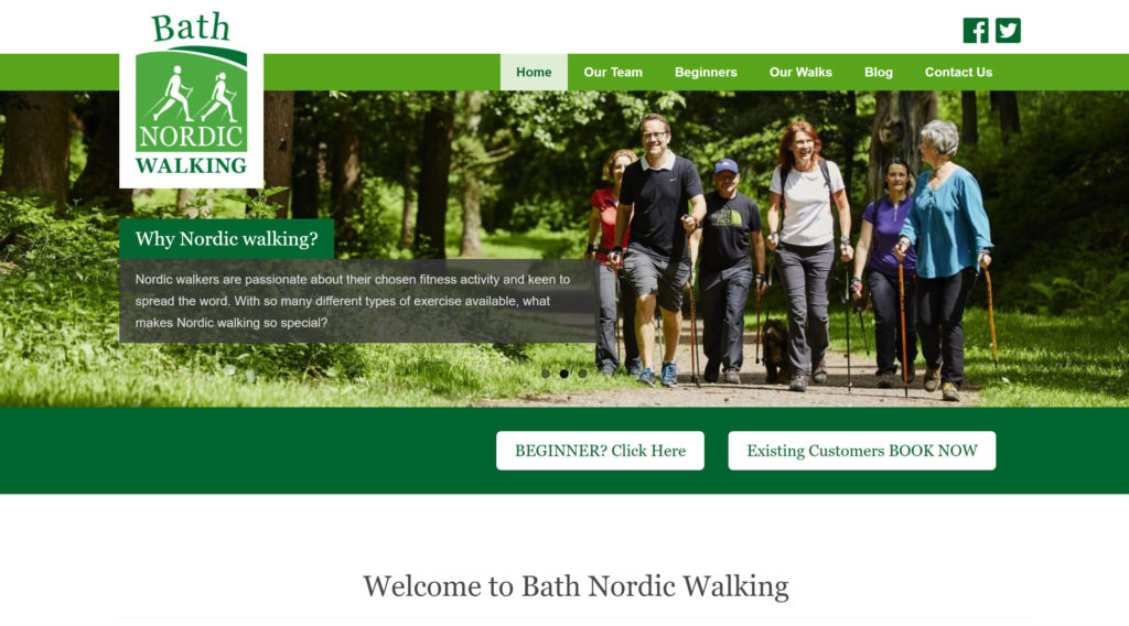 Bath Nordic Walking Website home page