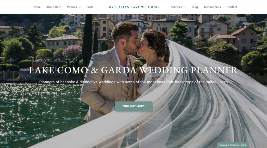My Italian Lake Wedding website design & build