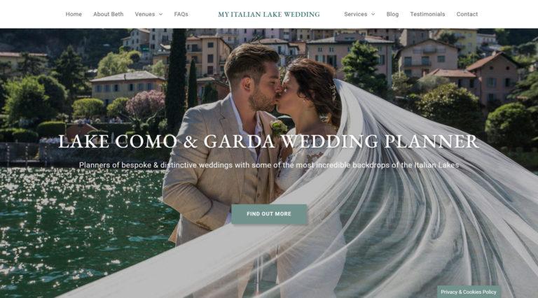 My Italian Lake Wedding website design & build