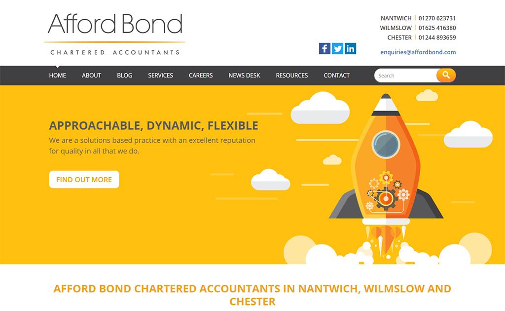 Web design for Afford Bond